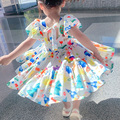 Summer Cosy Ruffle Floral Dress Girls Sweet Princess Dresses 2021 Children Colorful Print Puff Sleeve Party Dress Lovely Clothes