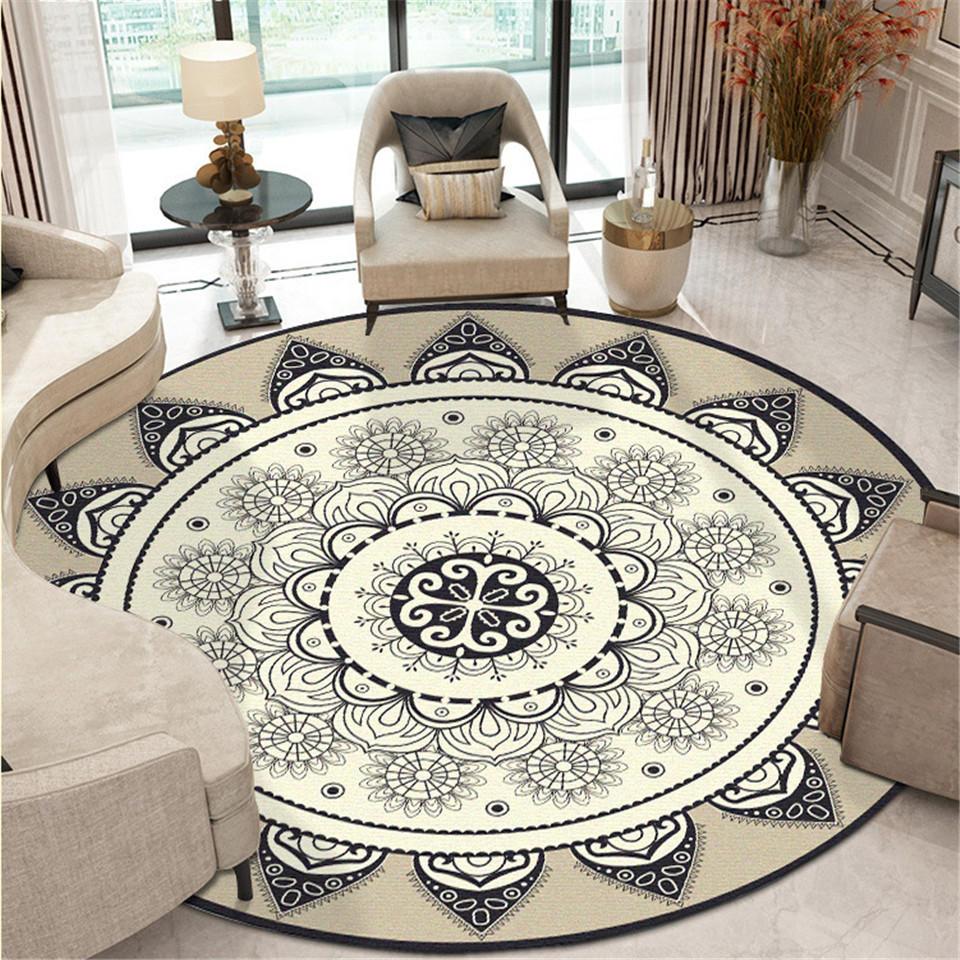Bohemian Ethnic Mandala Round Soft Floor Rug Classic Geometric Flower Sofa Floor Mat European Retro Living Room Mat Carpet  - AliExpress