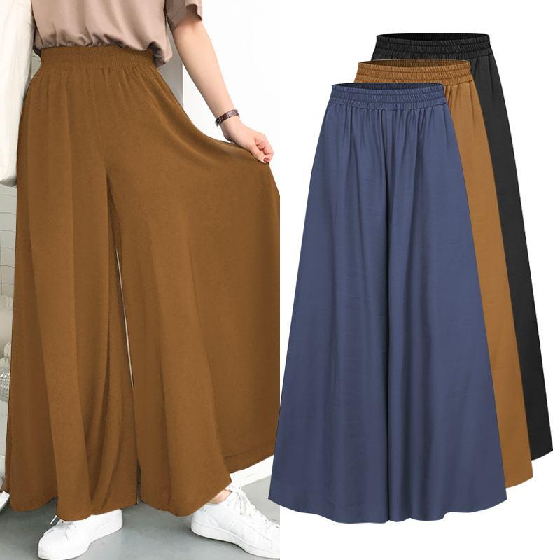 ZANZEA 2021 Spring Autumn Elastic Band Wide leg Pants Female Solid Wide Full Length Pant Women's Casual Ladies Pants Plus Size