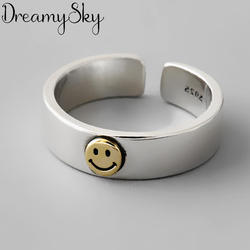 New Arrival Silver Color Smile Rings For Women Ladies Adjustable Rings Vintage Jewelry