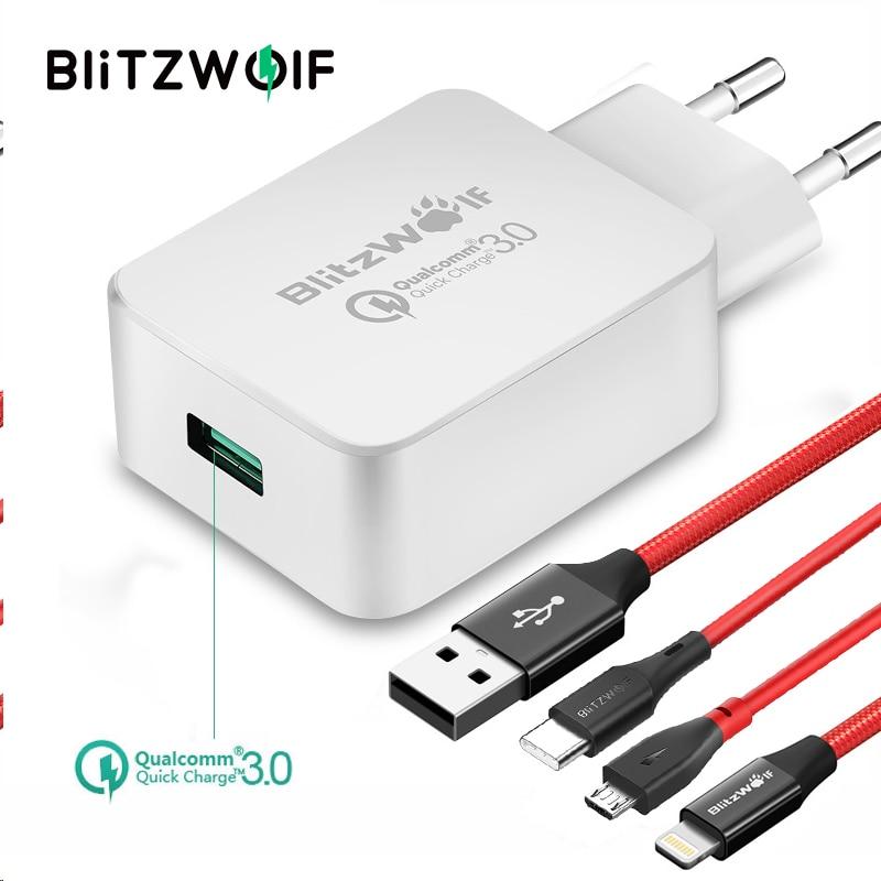 BlitzWolf QC3.0 Carregador USB EU Adaptador de Carregador de Parede Do Telefone Móvel Carregador de Viagem Com Cabo USB Para Xiaomi Para Samsung Para iPhone