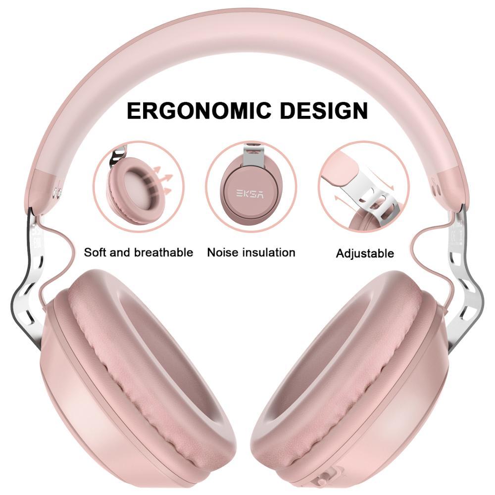 Image 2 - EKSA оригинальные беспроводные наушники CVC 6,0 шумоподавление  Гарнитура с 30 H время игры Проводные Bluetooth наушники с микрофоном  розовыйНаушники и гарнитуры