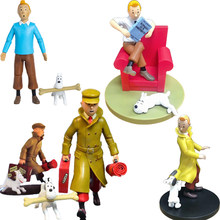 Les Aventures De Tintin Et Milou Tintin Anime figurine chiot blanc neige Milou PVC 10cm Collection modèle poupées jouets pour cadeau