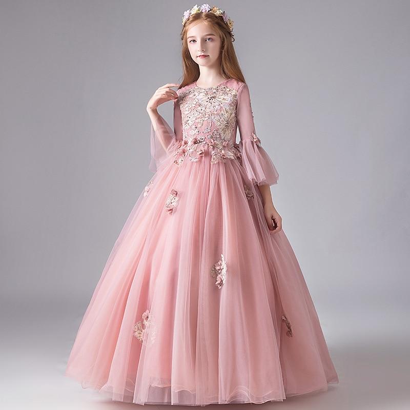 New Princess Girls O-neck Open Back Ball Gowns Beading Tulle Flower Girls Quinceanera Dresses Elegant Formal Wedding Dresses