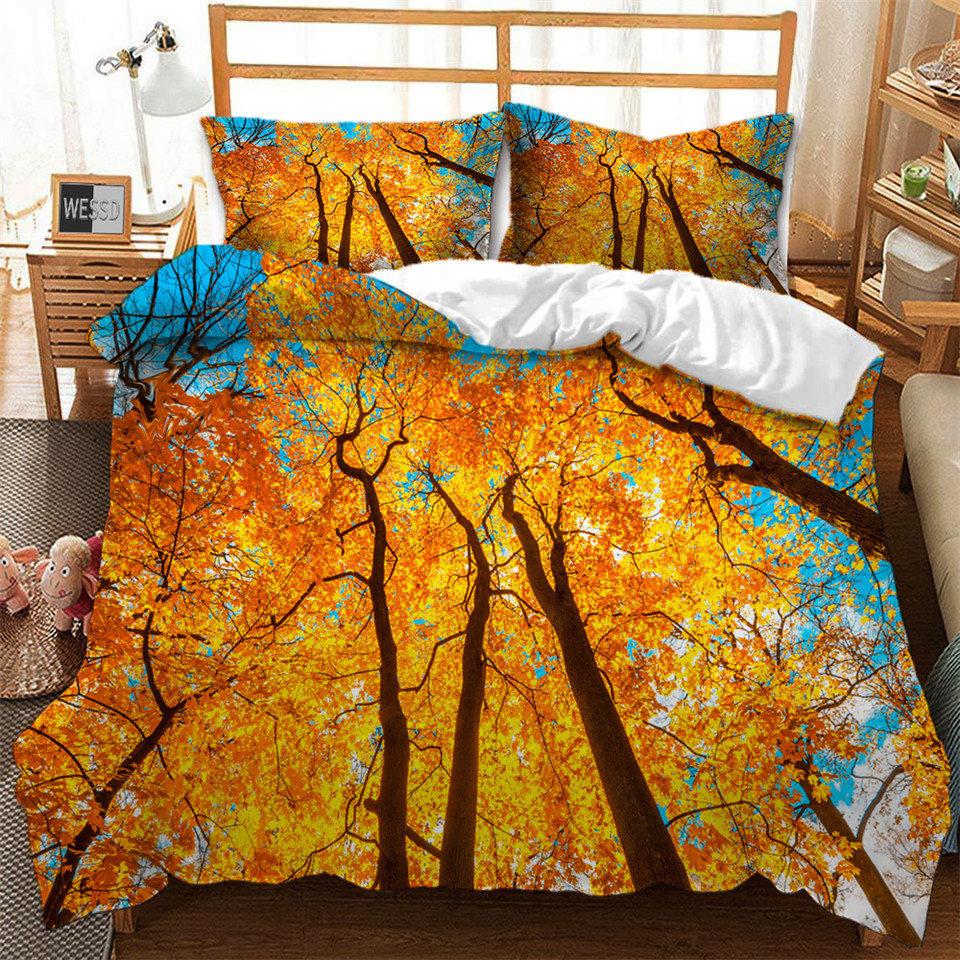 Forest Tree Yellow Duvet Covers For Twin Queen King Size Bed 3D Landscape Printed Bed Set Two People Quilt Cover Pillowcase