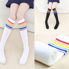 New Rainbow Stripes Sports Football Kids Socks Toddler Baby Cotton Socks Knee High Long Warmers Cute Boy Girl Children Sock 1-9Y 1 pack cotton girls socks long baby knee high socks cat style princess kids socks girl cute baby sock baby girl clothes 30cm