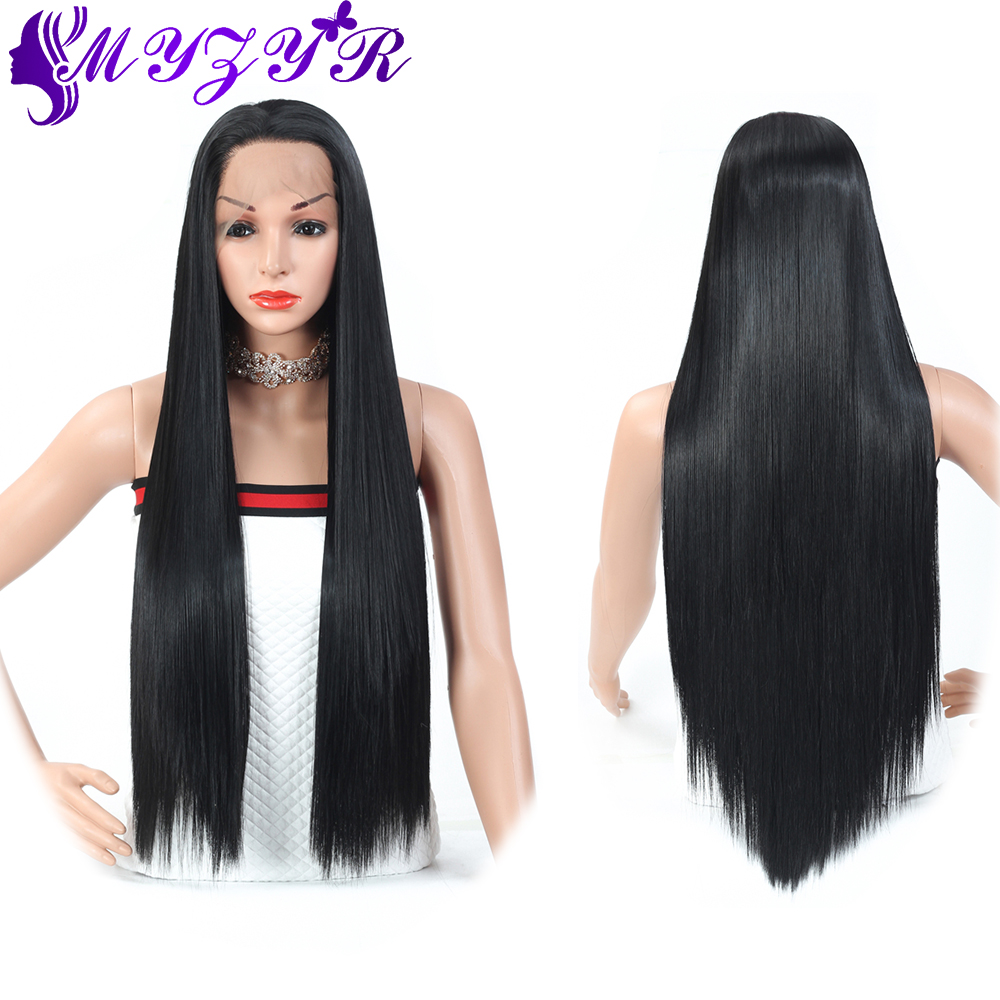 ZYR 26inches Long Silky Straight 13X4 Lace Front Wig Middle Parting High Temperature Fiber Women Wig Cosplay Synthetic Hair
