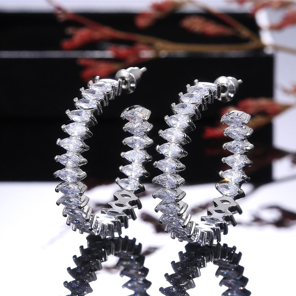 Simple Female Leaf Crystal Stud Earrings Classic Silver Color Wedding Earrings For Women Luxury Bridal Round Small Earrings