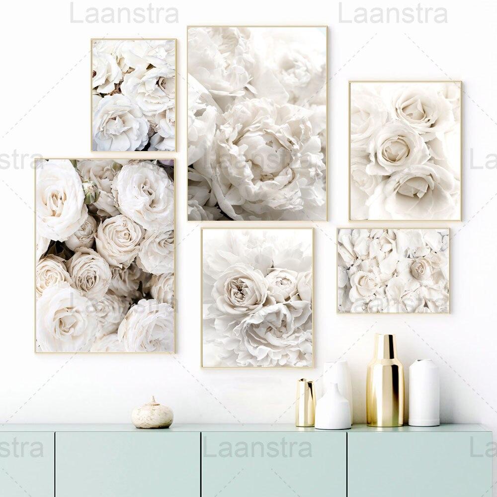 Белый романтический цветок, домашнее украшение, картина, роза, пион, элегантная гостиная, настенная Картина на холсте, Постер для сада, сканд...