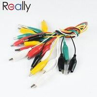 Juego de cables de prueba de 10 y 5 colores, pinzas de cocodrilo de doble punta, cable de puente de prueba