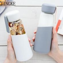 400ml coreano feminino garrafa de água de vidro com capa de silicone estudantes da escola garrafas de bebida ao ar livre portátil corda alta qualidade