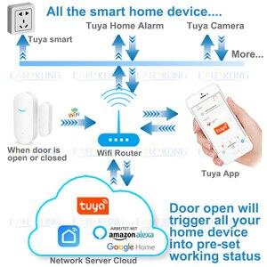 Image 5 - Tuya חכם WiFi דלת חיישן דלת פתוחה/סגור גלאי Wifi בית מעורר תואם עם Alexa Google בית Tuya APP