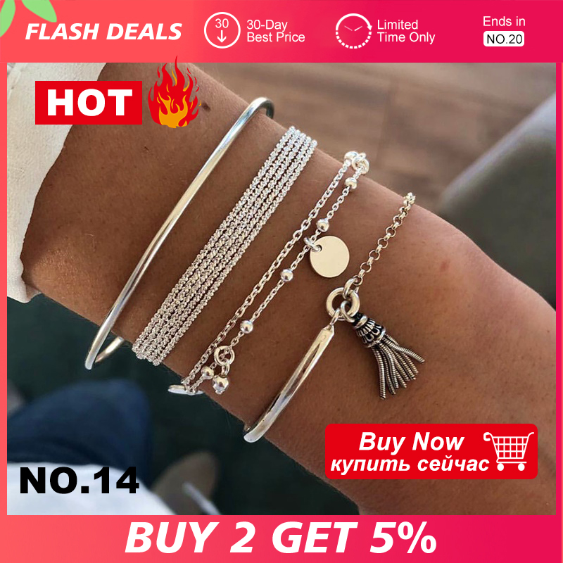 4 Pcs/Set Bohemian Silver Color Tassel Round Bracelet Set for Women Multilayer Pendant Bracelet 2020 Fashion Jewelry(China)