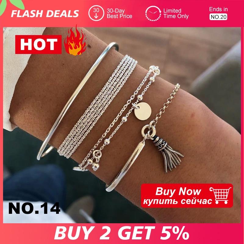 4 Pcs/Set Bohemian Silver Color Tassel Round Bracelet Set for Women Multilayer Pendant Bracelet 2020 Fashion Jewelry(China)