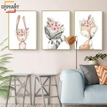 Peinture sur toile avec lapin, renard, cerf, fleurs, décor pour chambre de filles, affiche murale nordique, Anime