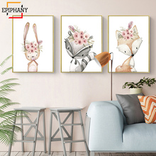 Woodland Animal Nursery Decor Rabbit Fox Deer Flower Canvas Painting Anime Poster Nordic Wall Pictures for Girls Room Decoration