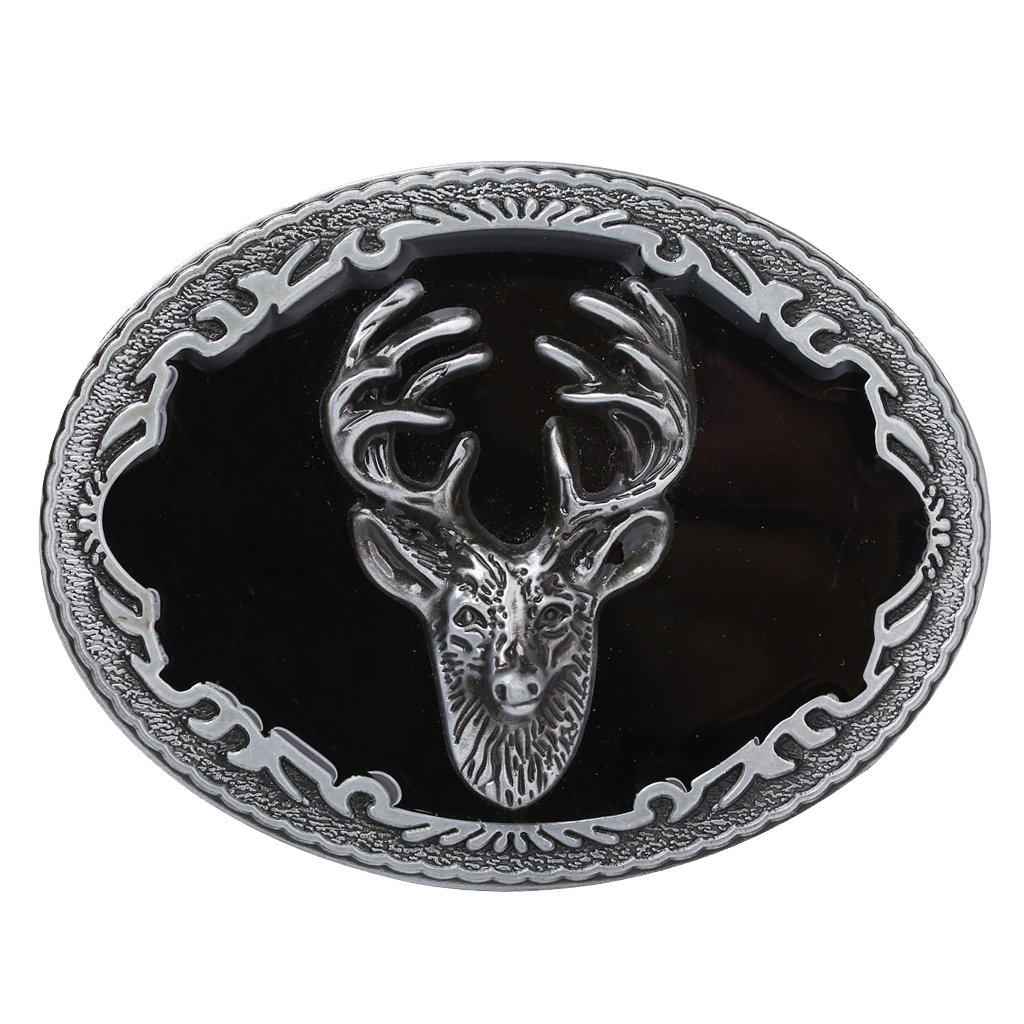 Fashion Xmas Holiday American Western Cowboy Vintage Oval Elk Metal Belt Buckle Motorcycle Men Belt Accessory