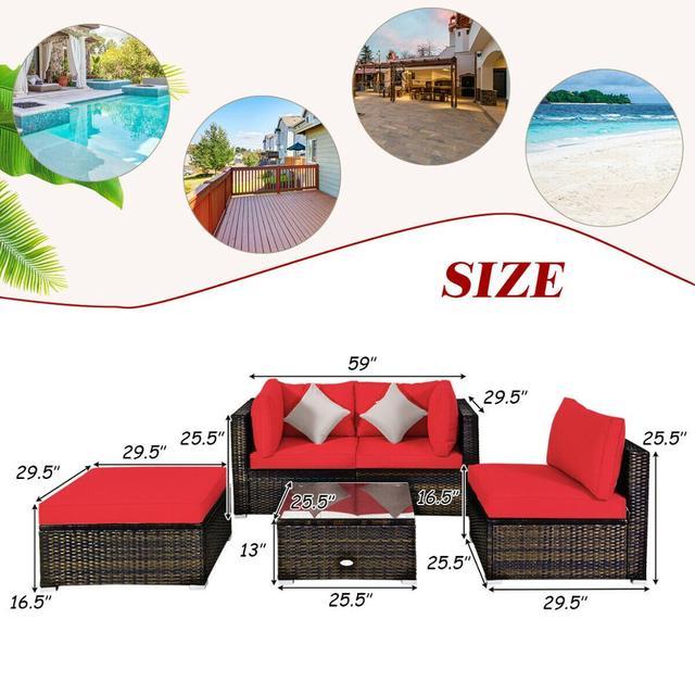 5PCS Patio Furniture Set w Red Cushions  4