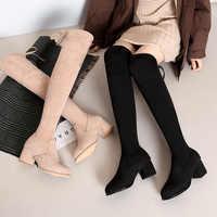 2019 mujeres sobre la rodilla botas de encaje negro Sexy tacones altos zapatos mujer botas altas cuña invierno cómodo moda botín Mujer