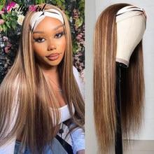 Düz saç Ombre vurgulamak insan saçı peruk tutkalsız eşarp 4-27 renk perulu Remy kafa bandı peruk siyah kadınlar için yeni varış