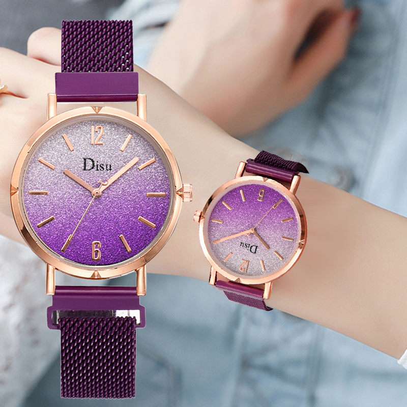 2019 Top Brand Luxury Women Bracelet Watches Fashion Gradient Dial Diamond Ladies Starry Sky Magnetic Wristwatch Female Clock