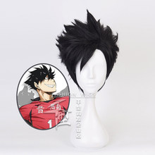 Haikyuu! Черный короткий парик для косплея Nekoma Kuroo Tetsurou, термостойкий синтетический волос Haikiyu парики для вечеринок на Хэллоуин