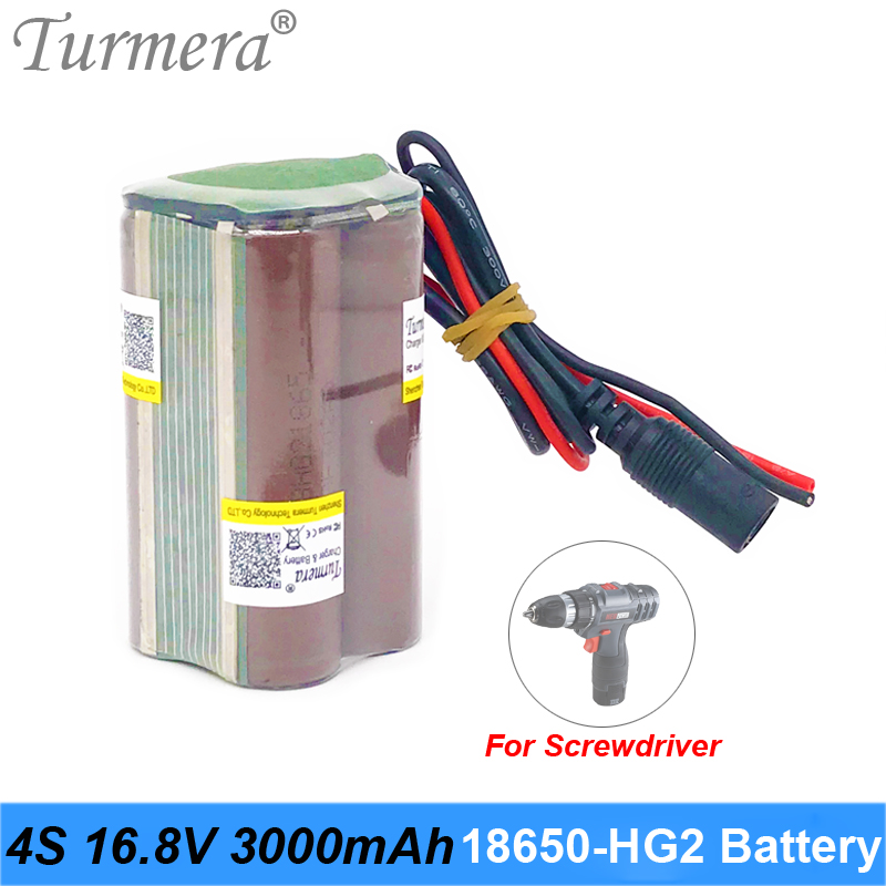 4S 16. 8V 14.4V 3000mAh Reachargeable Lithium Battery Pack INR18650-HG2 3000mAh 30A Battery Cell with 4S 30A BMS for Screwdriver