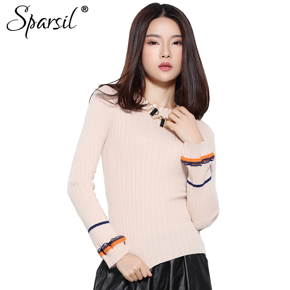 Sparsil Women Autumn Thin Wool Sweater Ruffled Fungus Collar Long Sleeve Elastic Knitted Pullovers Lantern Sleeve Striped Jersey
