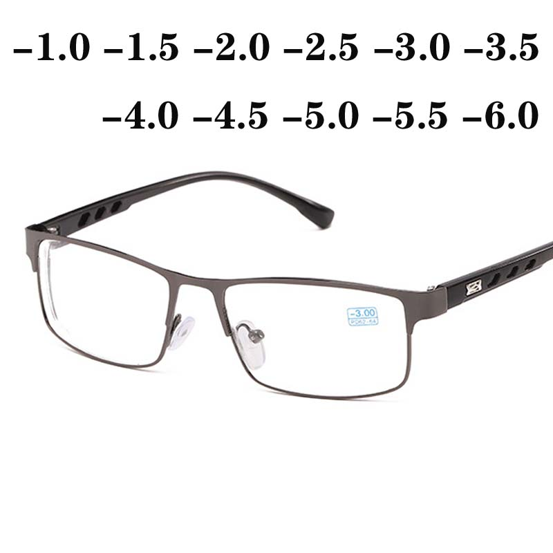 -1 -1.5 -2 -2.5 -3 -3.5 -4 -4.5 -5 -6 Finished Myopia Glasses WomenMen Full&Half Metal Frame Ultralight Students Myopia Glasses
