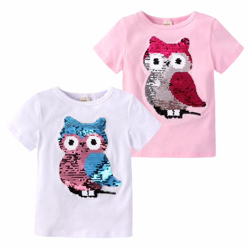 Girls Clothes Sequined T-Shirt New Color Changing Short-Sleeved T-Shirt Kids Cartoon Top 2-8Years