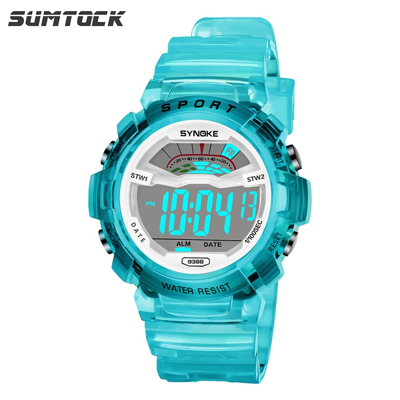 SUMTOCK Sport Kids Digital Watch For Boys Girls Transparent Strap Blue Pink Alarm Watch 3M Waterproof LED Student Gift Clock