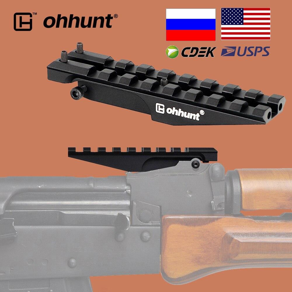 Тактическое крепление ohhunt для ЗАДНЕГО ПРИЦЕЛА AK 100 мм 150 мм, основание для прицела Пикатинни 21 мм для охоты, оптика с красной точкой, адаптер 47...