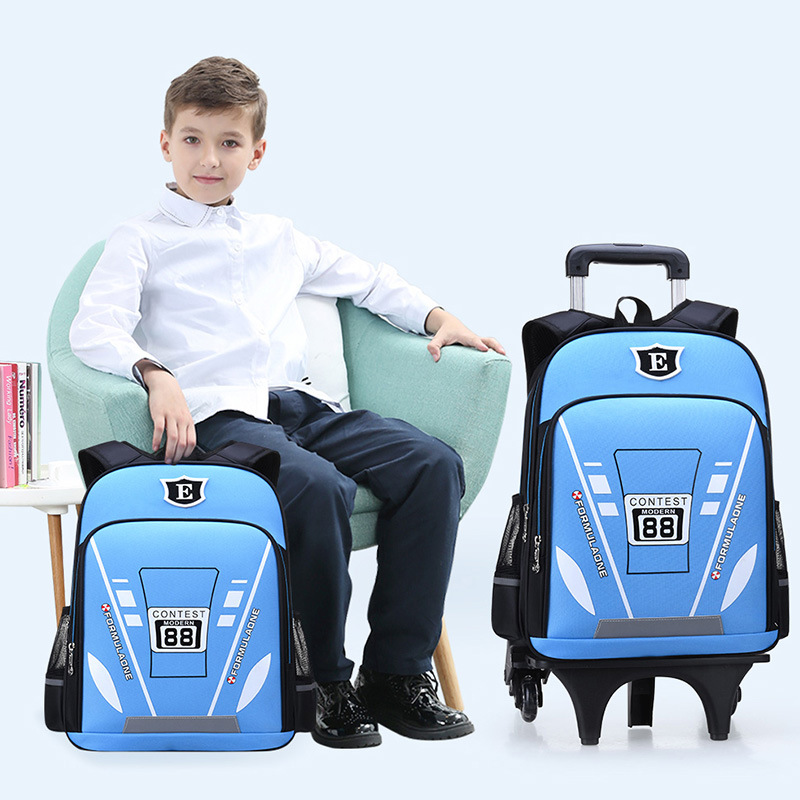 Trolley Bag Young STUDENT'S BOY'S 1-3-4-6 Grade America Captain 3 Round Climbing Stairs Children Backpack Men And Women