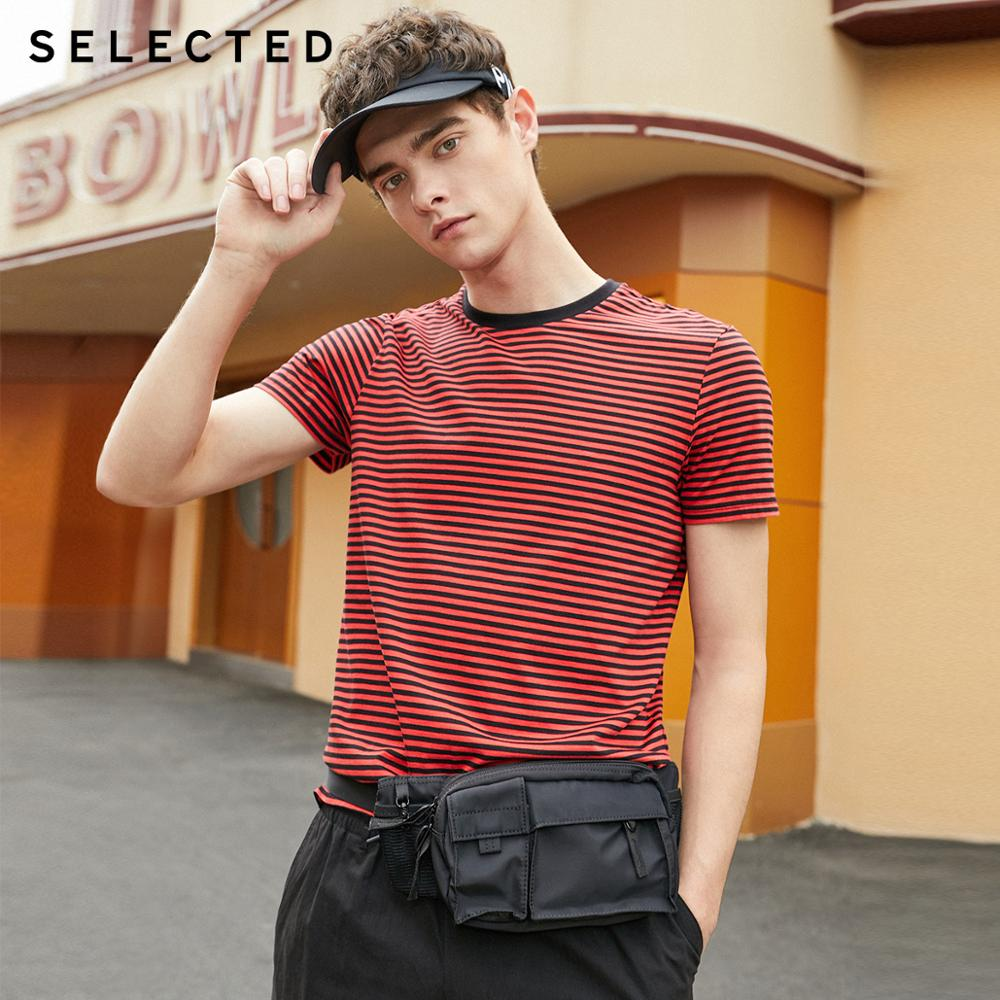 SELECTED Men's Summer 100% Cotton Striped Short-sleeved T-shirt S|419201580