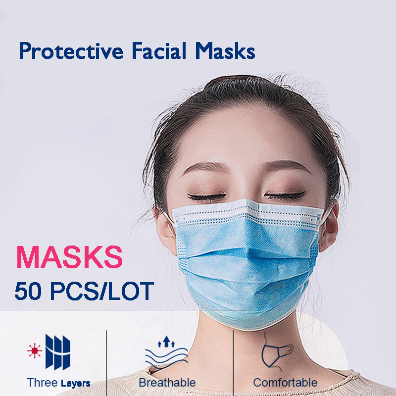 50 PCS/LOT Disposable Protective Masks Health Care Mouth Face Mask 3 Layers Disposable Anti NCoV PM2.5 Influenza Facial Masks
