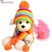 Transer 1 Set Regenbogen Striped Pet Hund Schal Hut Set Beinlinge Kalten Winter Kleine Hund Mützen Skullies Schals Pet produkte 9107(China)