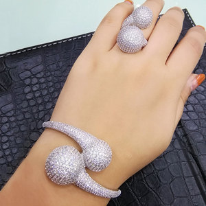 Image 2 - GODKI Conjunto de anillo de brazalete africano para mujer, Bola de discoteca de lujo, juegos de joyas para mujer, brincos de compromiso de boda para as mulheres 2018