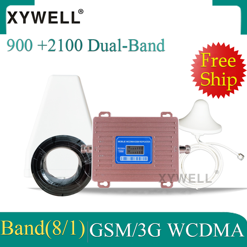 Gsm Repeater Dual Band 900 2100 Mobile Signal Cellular Booster GSM WCDMA UMTS 2100 2G 3G 4G Signal Booster 4G Antenna