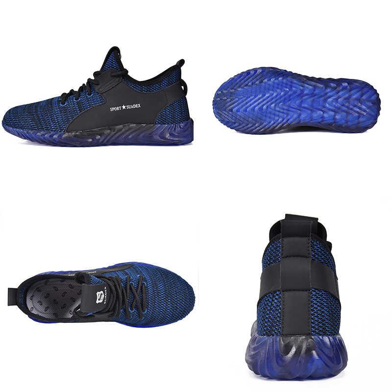 Jackshibo güvenlik iş ayakkabısı erkekler için dört sezon nefes iş çizmeleri Anti-smashing çelik burun iş güvenliği ayakkabıları Sneakers