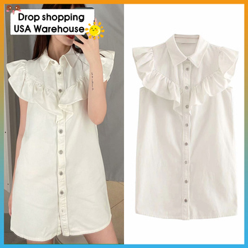 OUSHANG white dress Sleeveless Female Dresses Vestidos Mujer Women 2020 Sweet Fashion Button-up Ruffled Mini Dress button front sleeveless dress