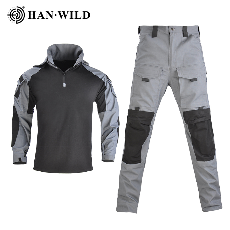 HAN WILD Combat Uniform Army Shirts Tactical Hunting Shirt  Outdoor Tactical Wearing Equipment for Airsoft- SP2 Version