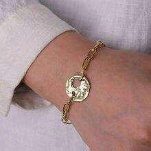 IPARAM Punk rue pièce creuse chaîne épaisse Bracelet bohème géométrique or métal gothique bijoux mode tendance Couple Bracelet