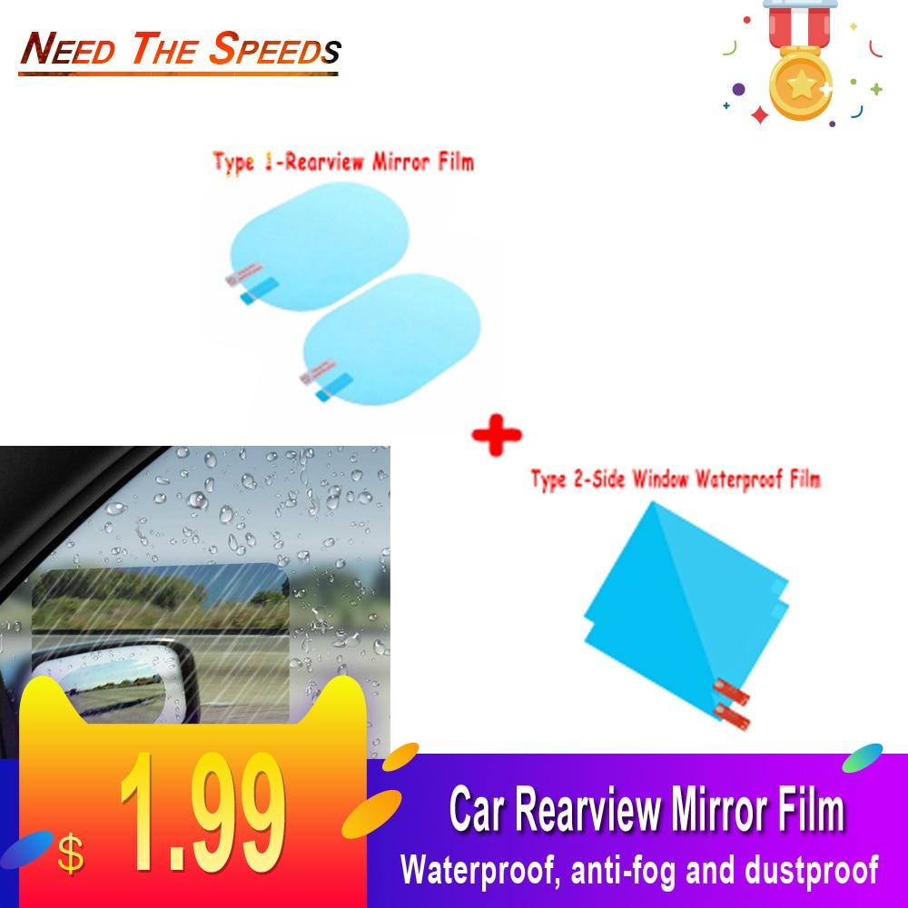 2Pcs 10*14.5cm Elliptical Blue Film Protective Film For Car Waterproof Mirror