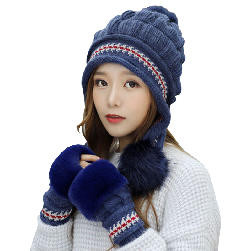 Fashion Women Knitted Hat Gloves Set Xmas Warming Beanie Hat Full Cover Glove Kit For Winter SSA-19ING