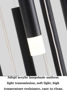 Image 5 - 90W 147W LED נברשות ספירלה חדר מדרגות מלון לובי ארוך תאורת תליית גופי ברזל מודרני מט שחור נברשת מנורה