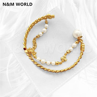 New fashion Jewelry Noble Pearls Wear Two Double layer Gold Open Bracelet Jewelry For Women Birthday Wedding Gift