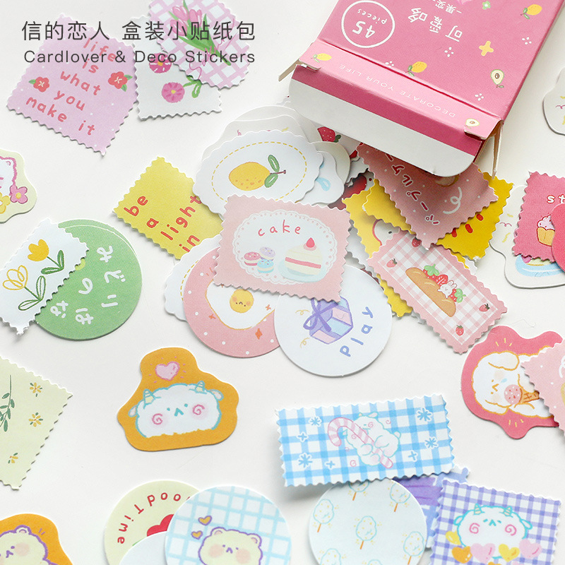 45 Pcs/box Cute Series Bullet Journal Decorative Stationery Mini Travel Stickers Set Scrapbooking DIY Diary Album Stick Lable