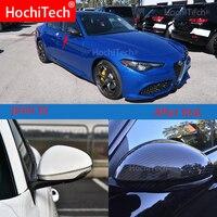 Capa de espelho de alta qualidade para alfa romeo giulia 2015-2019 real fibra de carbono espelho retrovisor capa de espelho lateral estilo do carro