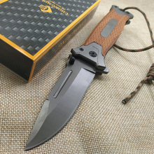 """8.2"""" Tactical Damascus steel Folding knife Pocket knife Camping survival Tactical knives colorful steel + solid wood handle EDC"""