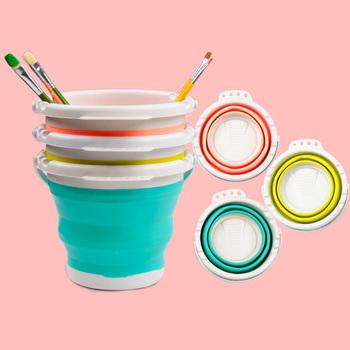 Pędzelek artystyczny wiadro do mycia wielofunkcyjny chowany wiadro pióro beczka szczotka do mycia dostaw sztuki narzędzie do mycia pędzlem tanie i dobre opinie CN (pochodzenie) Brush Washing Bucket 225